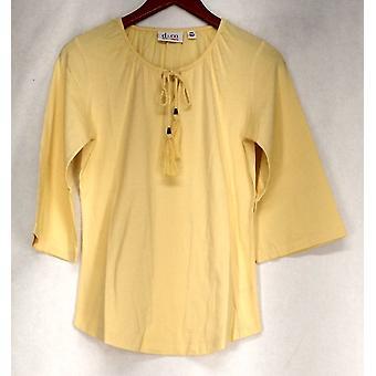 Denim & Co. Top Scoop Neck 3/4 Sleeve Peasant Style Neck Tie Yellow A274344