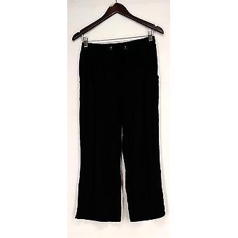 H par Halston Pantalon Pull-on Crop Wide Leg Pantalon Noir A277947
