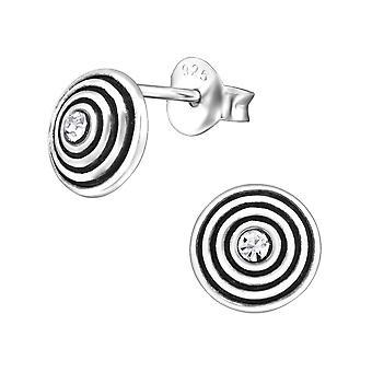 Раунд - 925 стерлингового серебра кристалл уха шпильки - W31680x