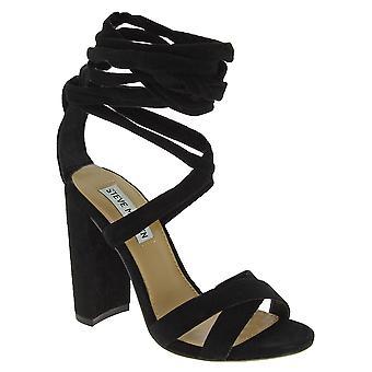 Steve Madden vrouwen ' s hoge blok hakken Lace-ups sandalen in zwart suède stof
