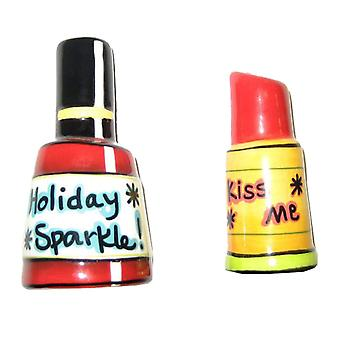 Nail Polish Lipstick Holiday Sparkle Salt and Pepper Shakers Set