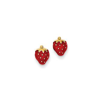 14k Yellow Gold Hollow Closed back Post Earrings Enameled Strawberry for boys or girls Earrings Measures 8x7mm