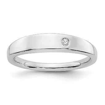 925 Sterling Silver Polished Gift Boxed Rhodium plated White Ice .02ct. Diamond Ring Jewelry Gifts for Women - Ring Size
