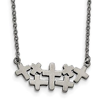 Stainless Steel Fancy Lobster Closure Brushed and Polished Multi Religious Faith Cross Necklace 17.5 Inch Jewelry Gifts