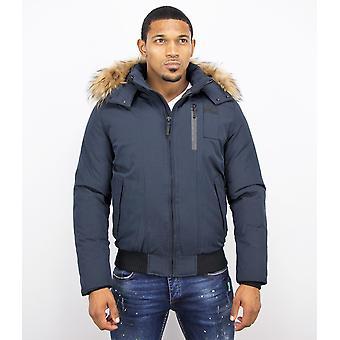Short men's winter coat – with fur collar – blue