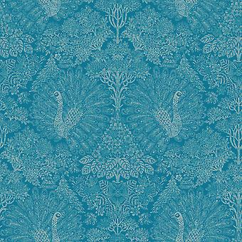 Paon Peacock Wallpaper Blue Muriva A222-14