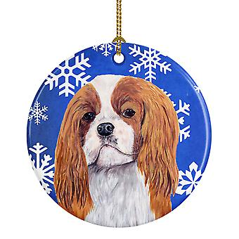 Cavalier Spaniel Winter Snowflakes Holiday Ceramic Ornament SC9394