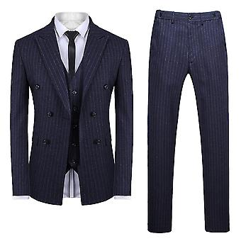 Allthemen mannen ' s 3-delige double-breasted Stripe katoen Business Casual blazer & broek & vest