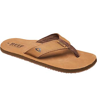 Reef Mens Leather Smoothy Holiday Pool Beach Flip Flops Thongs Sandals - Bronze