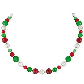 Eternal Collection Festivity Red And Green Crystal Silver Tone Necklace