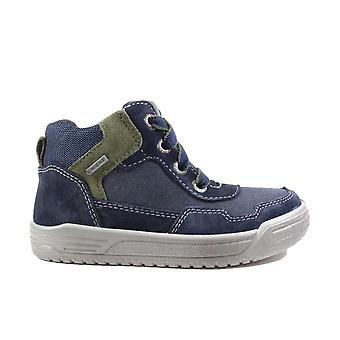 Superfit 09058-80 Blue Suede Leather Boys Zip/Lace Up Ankle Boots