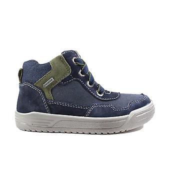 Superfit 09058-80 Blue Camurça Leather Boys Zip/Lace Up Ankle Boots