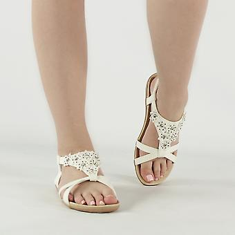 Shumo Ravello Ladies Elasticated Strappy Summer Sandals White