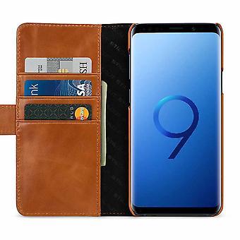 Etui Pour Samsung Galaxy S9+ Porte-cartes Cognac En Cuir Véritable