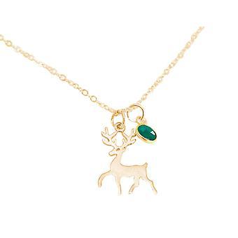 Gemshine cervo sping colar de chifre 925 prata, banhado a ouro, rosa - esmeralda
