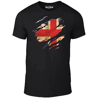 Mannen ' s gescheurd Union Jack vlag t-shirt