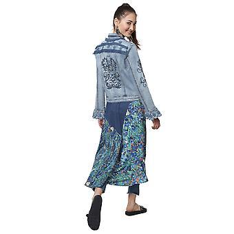 Desigual Women's Burns Embroidered Sequin Denim Jacket