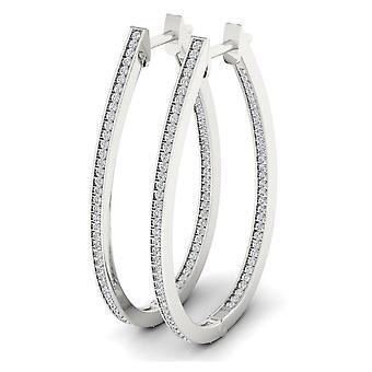 Boucles d'oreilles Igi certifié naturel 925 argent sterling 0,50 ct cerceau de diamant