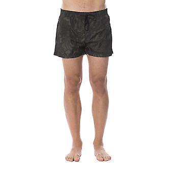 Roberto Cavalli Man Military Green Swim Shorts