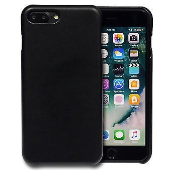 Voor iPhone 8 PLUS,7 PLUS Case, iCoverLover Slim Echte Schapen lederen cover, Zwart