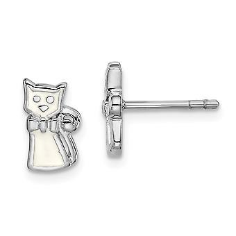 925 Plata esterlina Rhodium plateado para niños o niñas esmaltado blanco Gato Post Pendientes - 1.3 gramos