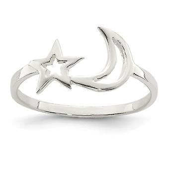 925 Sterling Silver Polished Star et Celestial Moon Ring Jewelry Gifts for Women - Ring Size: 6 to 8