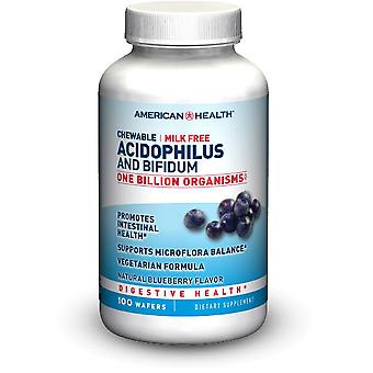 American Health Chew Acidophilus og Bifidum naturlige Blueberry Wafer 100 ct