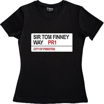 Preston North End: Sir Tom Finney Way PR1 Road Sign Black Women's Camiseta
