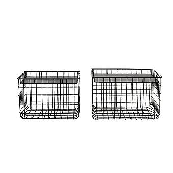 Light & Living Basket Set Of 2 41x31x28.5 And 46x36x29.5cm Padang Black