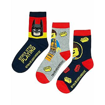 Lego Movie 2 Assorted 3 Pack Kids Red Navy Grey Multi Pack Socks