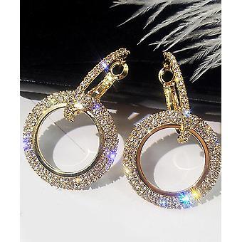 Διπλή Crystal Hoop χρυσά σκουλαρίκια πτώση
