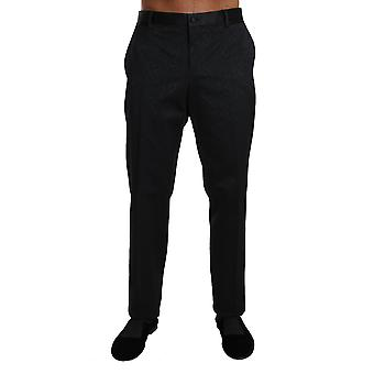 Dolce & Gabbana Black Cotton Brocade Formal Trousers Pants