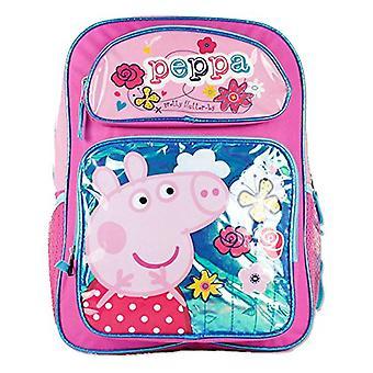 Mochila - Peppa Pig - w/Flowers New Girls Kids School Bag 111100