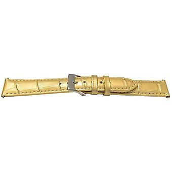 Leather watch strap gold shiny crocodile grain gold plated buckle  10mm to 18mm