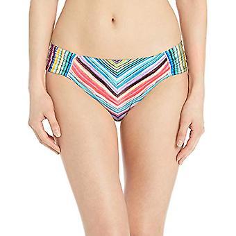 La Blanca Women's Side Shirred Hipster Bikini, Red//Tahitian Stripe, Size 6.0