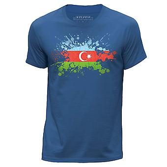 STUFF4 Men-apos;s Round Neck T-Shirt/Azerbaijan Flag Splat/Royal Blue