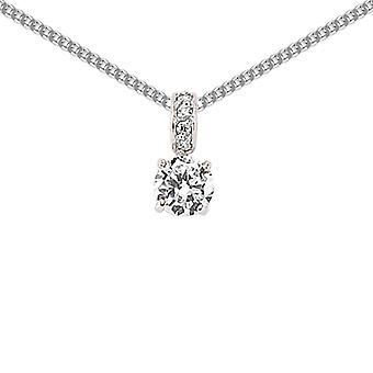 Jewelco London Rhodium Plated Sterling Silver Round Brilliant Cubic Zirconia Solitaire Drop Pendant Necklace 18 inch