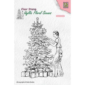 Nellie's Choice clearstamp - Idyllic Floral Scenes vint.Christmas IFS019 91x129mm