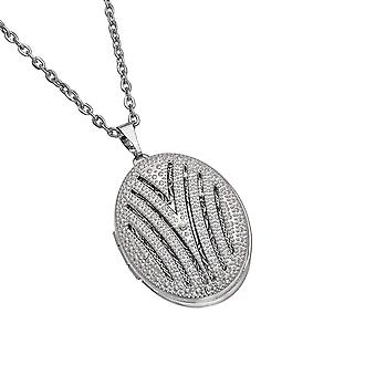The Olivia Collection Silvertone Genuine Diamond Oval Locket Pendant 16