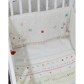 The Essential One Fox And Owl Hand Embroidered Cot Bumper