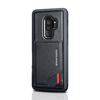 Pierre Cardin cuir Backcover Case Avec le titulaire de carte Samsung Galaxy S9 Plus - Noir