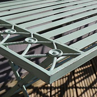 Charles Bentley Wrought Iron Decorative Outdoor Foldable Coffee Table Rustic Lightweight and Practical - Sage Green