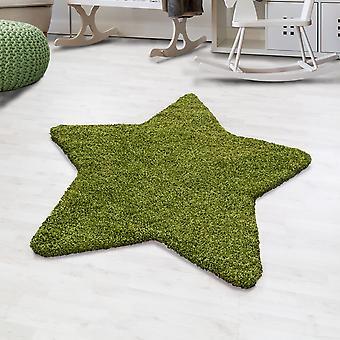 Shaggy høj flor tæppe solid farve grøn stjerne form børns tæppe børnehave