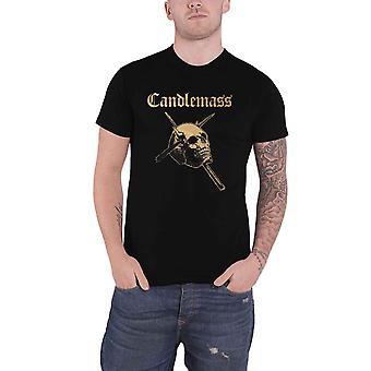 Candlemass T Shirt Gold Skull Band Logo doom metal new Official Mens Black