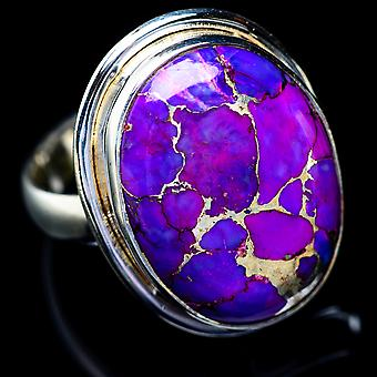 Purple Copper Composite Turquoise Ring Size 8.5 (925 Sterling Silver)  - Handmade Boho Vintage Jewelry RING5560
