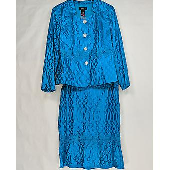 Midnight Velvet Women's Skirt Suit Mesh Lace Bright Blue