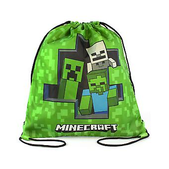Minecraft Zombie Creeper Skeleton Green Drawstring Swim Bag