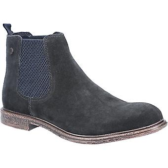 Base Londra Mens Flint Suede Pull On Chelsea Boot Navy
