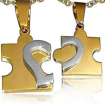 Puzzle heart pendants necklace set in gold and stainless steel for men or women