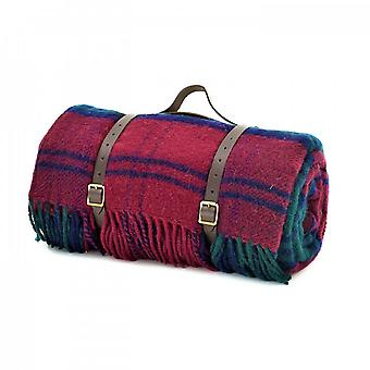 Tweedmill Polo Picnic Rug con backing impermeabile e cinghie in pelle - Lindsay Tartan